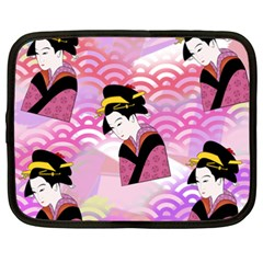 Japanese Abstract Pink Netbook Case (xxl) by snowwhitegirl