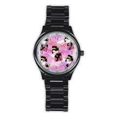 Japanese Abstract Pink Stainless Steel Round Watch by snowwhitegirl