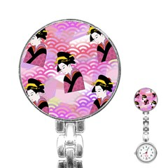 Japanese Abstract Pink Stainless Steel Nurses Watch by snowwhitegirl