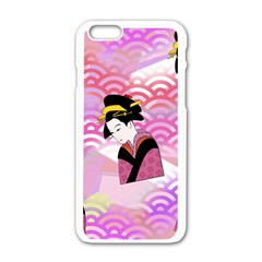 Japanese Abstract Pink Apple Iphone 6/6s White Enamel Case by snowwhitegirl