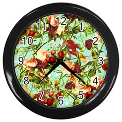 Fruit Blossom Wall Clock (black) by snowwhitegirl