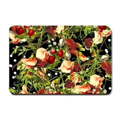 Fruit Blossom Black Small Doormat  by snowwhitegirl