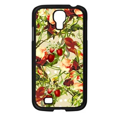 Fruit Blossom Beige Samsung Galaxy S4 I9500/ I9505 Case (black) by snowwhitegirl