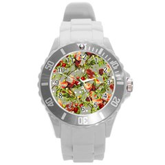 Fruit Blossom Gray Round Plastic Sport Watch (l) by snowwhitegirl