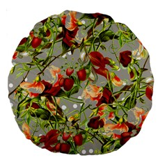 Fruit Blossom Gray Large 18  Premium Round Cushions by snowwhitegirl