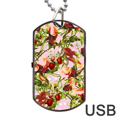Fruit Blossom Pink Dog Tag Usb Flash (two Sides)