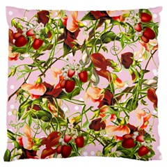 Fruit Blossom Pink Large Flano Cushion Case (one Side) by snowwhitegirl