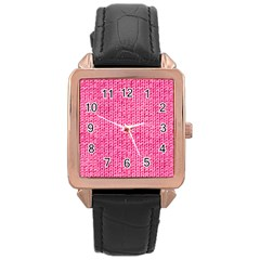 Knitted Wool Bright Pink Rose Gold Leather Watch  by snowwhitegirl