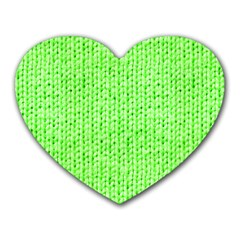 Knitted Wool Neon Green Heart Mousepads by snowwhitegirl