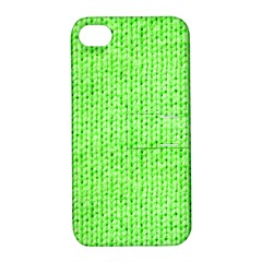 Knitted Wool Neon Green Apple Iphone 4/4s Hardshell Case With Stand by snowwhitegirl