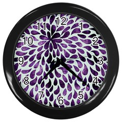 Purple Abstract Swirl Drops Wall Clock (black) by snowwhitegirl