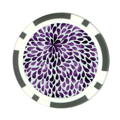 Purple Abstract Swirl Drops Poker Chip Card Guard