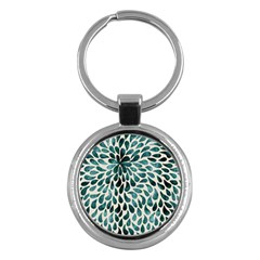 Teal Abstract Swirl Drops Key Chains (round)  by snowwhitegirl