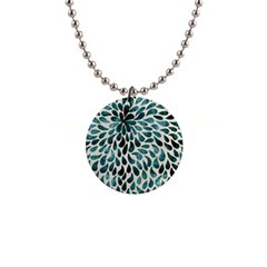 Teal Abstract Swirl Drops Button Necklaces by snowwhitegirl