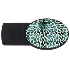 Teal Abstract Swirl Drops Usb Flash Drive Oval (4 Gb) by snowwhitegirl