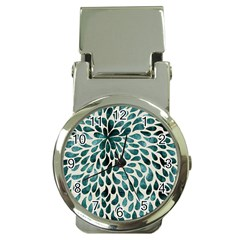 Teal Abstract Swirl Drops Money Clip Watches by snowwhitegirl