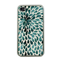 Teal Abstract Swirl Drops Apple Iphone 4 Case (clear) by snowwhitegirl