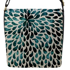 Teal Abstract Swirl Drops Flap Closure Messenger Bag (s)