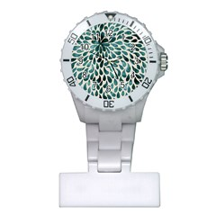 Teal Abstract Swirl Drops Plastic Nurses Watch by snowwhitegirl