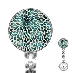 Teal Abstract Swirl Drops Stainless Steel Nurses Watch by snowwhitegirl