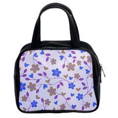 Blue Vintage Flowers Classic Handbag (two Sides) by snowwhitegirl