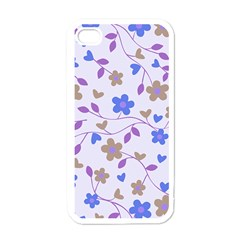 Blue Vintage Flowers Apple Iphone 4 Case (white) by snowwhitegirl