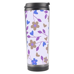 Blue Vintage Flowers Travel Tumbler by snowwhitegirl