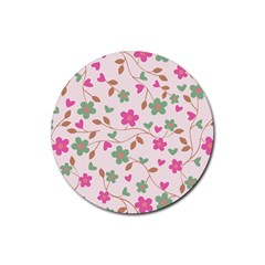 Pink Vintage Flowers Rubber Round Coaster (4 Pack)