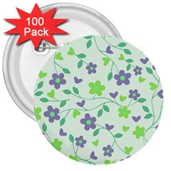 Green Vintage Flowers 3  Buttons (100 Pack)  by snowwhitegirl