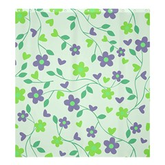 Green Vintage Flowers Shower Curtain 66  X 72  (large)  by snowwhitegirl