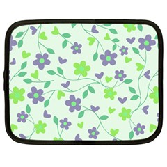 Green Vintage Flowers Netbook Case (xxl) by snowwhitegirl