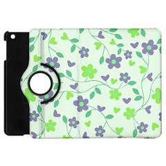 Green Vintage Flowers Apple Ipad Mini Flip 360 Case by snowwhitegirl