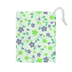 Green Vintage Flowers Drawstring Pouch (large) by snowwhitegirl