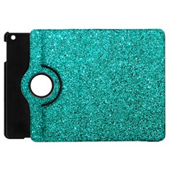 Aqua Glitter Apple Ipad Mini Flip 360 Case by snowwhitegirl