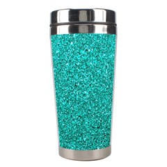 Aqua Glitter Stainless Steel Travel Tumblers by snowwhitegirl