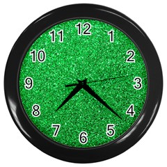 Green Glitter Wall Clock (black) by snowwhitegirl