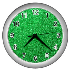 Green Glitter Wall Clock (silver) by snowwhitegirl