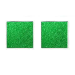 Green Glitter Cufflinks (square) by snowwhitegirl