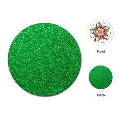 Green Glitter Playing Cards (round)  by snowwhitegirl
