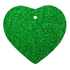 Green Glitter Heart Ornament (two Sides) by snowwhitegirl