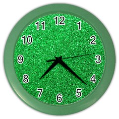 Green Glitter Color Wall Clock by snowwhitegirl