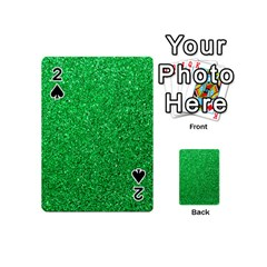 Green Glitter Playing Cards 54 (mini)  by snowwhitegirl
