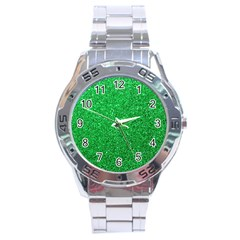 Green Glitter Stainless Steel Analogue Watch by snowwhitegirl
