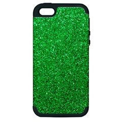 Green Glitter Apple Iphone 5 Hardshell Case (pc+silicone) by snowwhitegirl