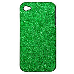 Green Glitter Apple Iphone 4/4s Hardshell Case (pc+silicone) by snowwhitegirl