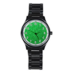 Green Glitter Stainless Steel Round Watch by snowwhitegirl