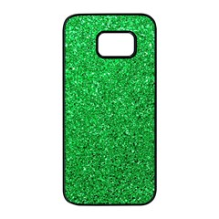 Green Glitter Samsung Galaxy S7 Edge Black Seamless Case by snowwhitegirl