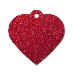 Red  Glitter Dog Tag Heart (one Side)