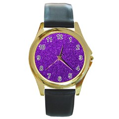 Purple  Glitter Round Gold Metal Watch by snowwhitegirl