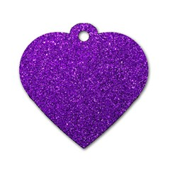 Purple  Glitter Dog Tag Heart (one Side)